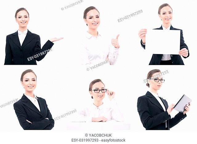Appealing businessperson. Collage of young attractive smiling woman with different objects like paper or tablet isolated on white background