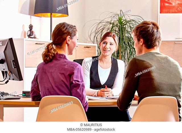Travel agency, couple, consultation