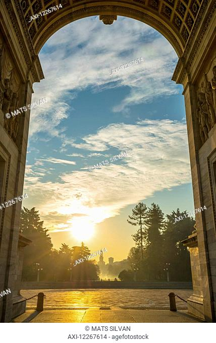 Simplon Gate with Arco della pace at sunset; Milan, Lombardy, Italy