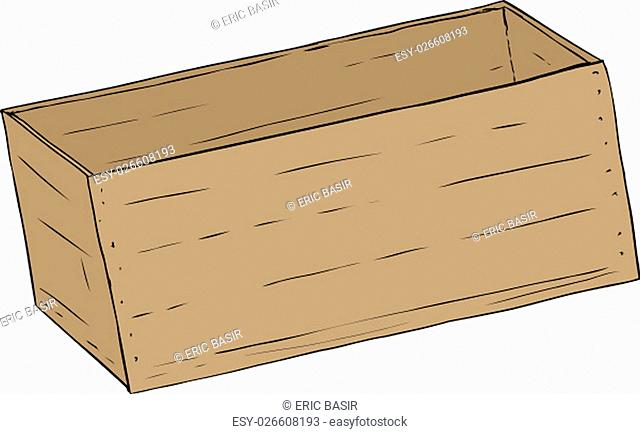 Hand drawn illustration of single wooden empty crate