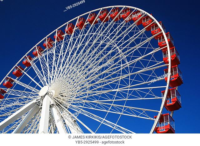 The Ferris Wheel takes riders high above Navy Pier in Chicago, Illinois