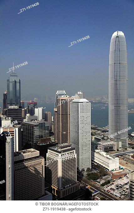China, Hong Kong, Central district, skyline, aerial view
