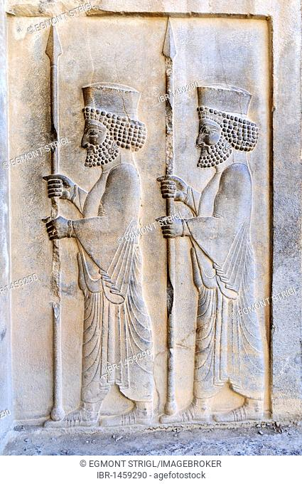Bas-relief of Persian soldiers at the Achaemenid archeological site of Persepolis, UNESCO World Heritage Site, Persia, Iran, Asia