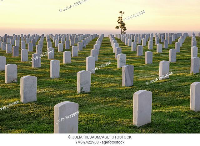 Veteran cemetery at sunset in San Diego, California