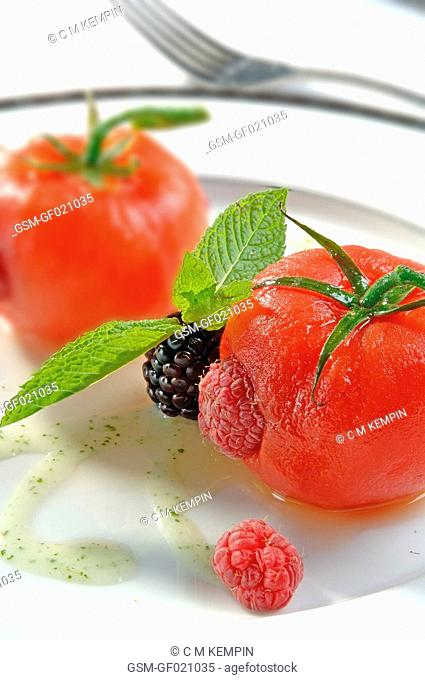 Tomatoes crystallized with raspberry