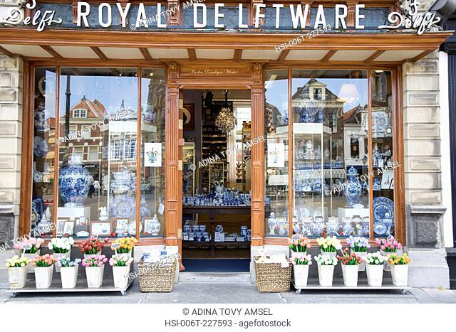 Royal Delftware pottery shop front in Delft. Netherlands