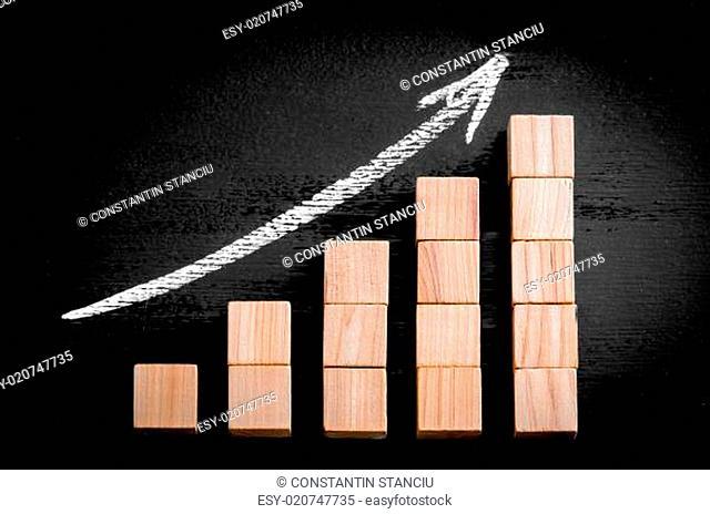 Ascending arrow above bar graph