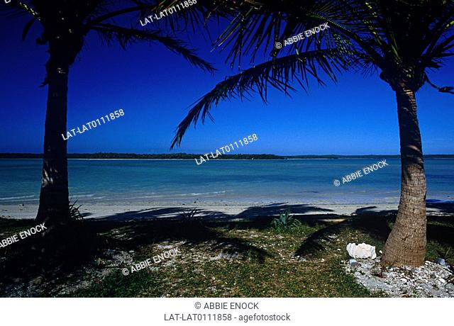 The isle des Pins is a coral reef island in the island group which makes up New Caledonia in the Pacific Ocean. The sea is blue and the sand is white