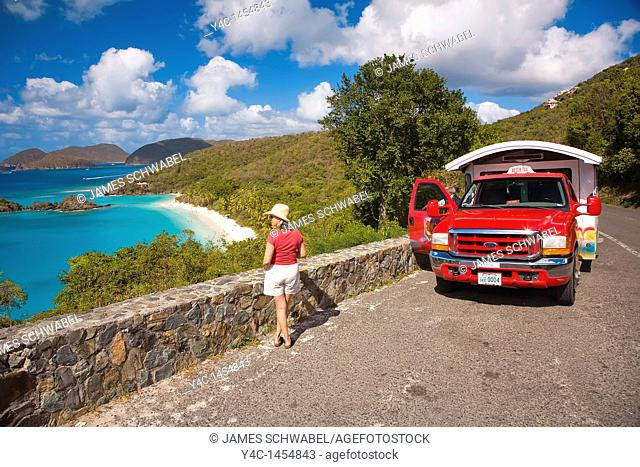 Trunk Bay Beach in the Virgin Islands National Park on the caribbean island of St John in the US Virgin Islands