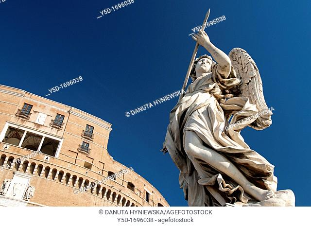 statue of angel, Ponte Sant` Angelo, bridge of St Angel, river Tiber, old town of Rome, Lazio, Italy, Europe