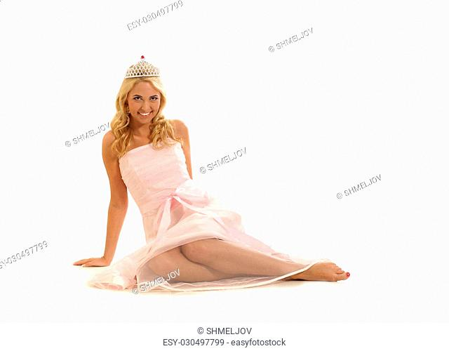 Young beautiful princess isolated on white