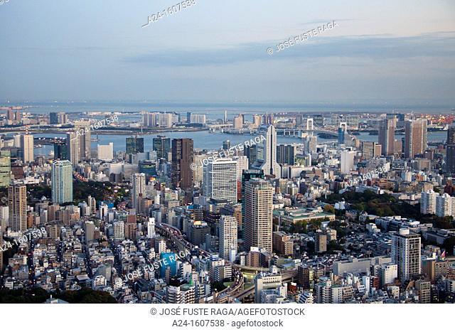 Japan-Tokyo City-Skyline towards Odaiba and Tokyo Bay