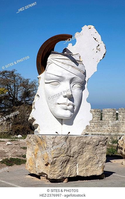 A sculpture at the fortress at Sesimbra, Portugal, 2009. This Moorish castle was taken from the Moors in 1165 during the Portuguese Reconquista by King Afonso...