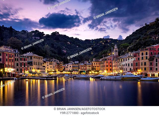 Twilight over harbor town of Portofino, Liguria, Italy