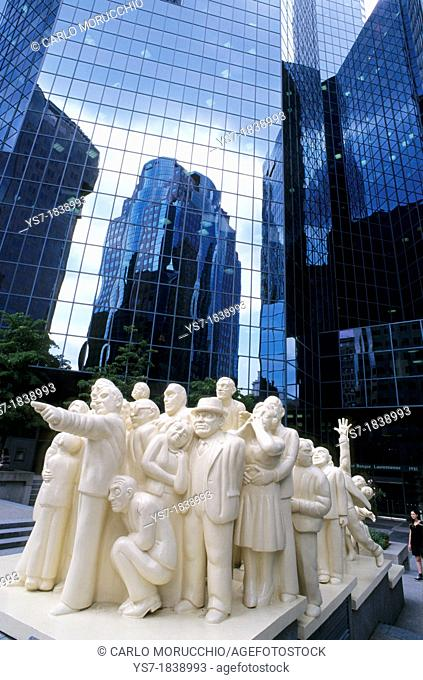 Sculpture in front of skyscraper's windows in Montreal downtown, Quebec, Canada, North America
