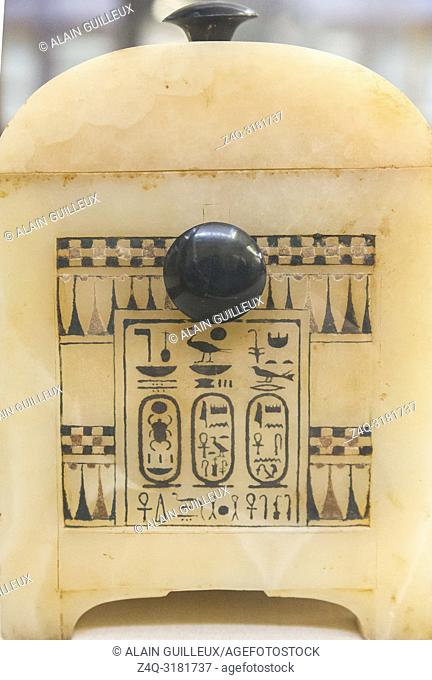 Egypt, Cairo, Egyptian Museum, Tutankhamon alabaster, from his tomb in Luxor : Side of a painted box, with knobs in obsidian