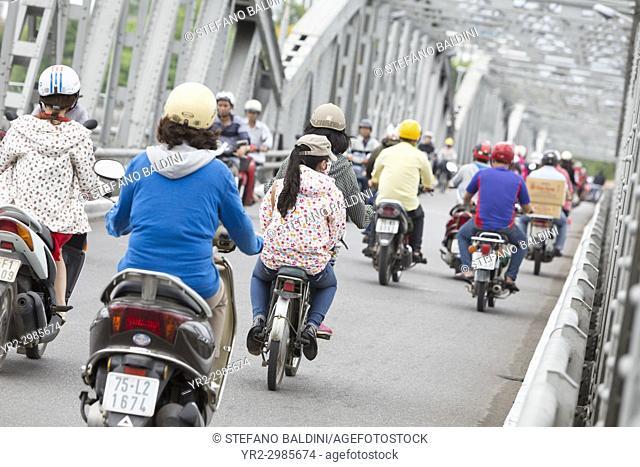 Traffic on the Trang Tien bridge in Hue, Vietnam