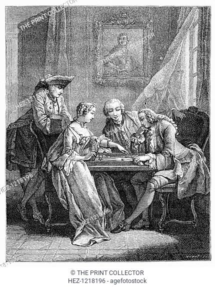 The Game Of Trictrac, (1885). A group of people playing trictrac (backgammon)