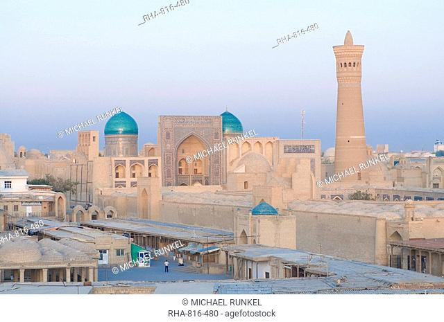 View over city with mosques and minarets, Bukhara, Uzbekistan, Central Asia