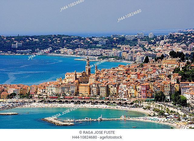 France, Europe, Cote d'Azur, Menton, harbor port, boats, sea, Mediterranean Sea, overview, bay