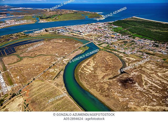 Vila Real de Santo Antonio . Faro district. Algarve. Portugal. In the background Guadiana river and Ayamonte in Andalusia. Spain