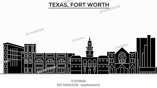 Usa, Texas Fort Worth architecture vector city skyline, black cityscape with landmarks, isolated sights on background