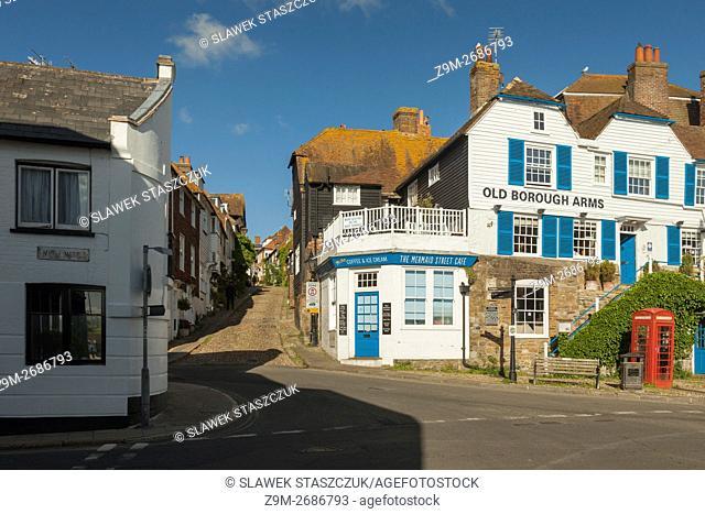 Looking up Mermaid Street in Rye, East Sussex, England