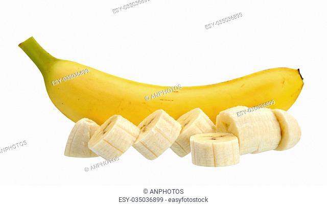 whole and slice banana isolated on white background