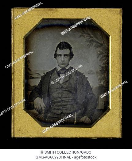 Framed octagon daguerreotype of Edwin Booth, famous 19th century actor, brother of John Wilkes Booth, the man who assassinated President Abraham Lincoln, 1890