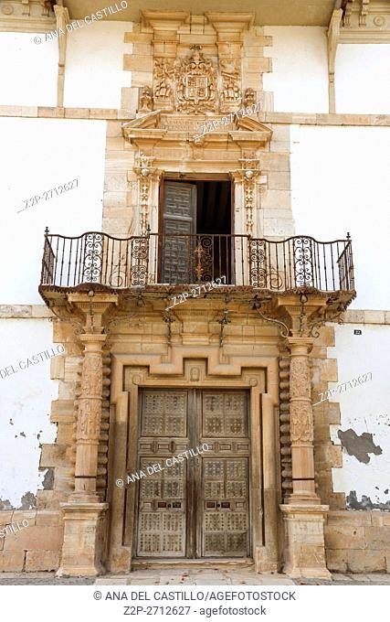 Tembleque village Toledo in La Mancha, Spain. Palacio de las dos torres, baroque palace in town