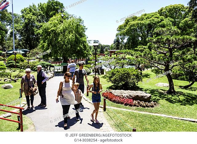 Argentina, Buenos Aires, Recoleta, Japanese Garden Jardin Japones, botanical, path, man, woman, girl, boy, familly, Hispanic
