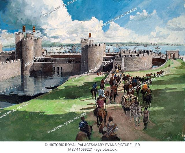 Reconstructed view of the Tower of London, showing the western entrance, 1300