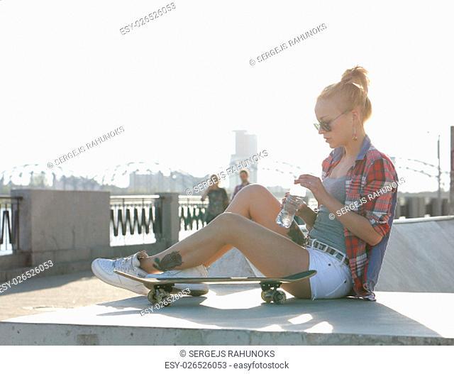 Sport. Girl in the skate park