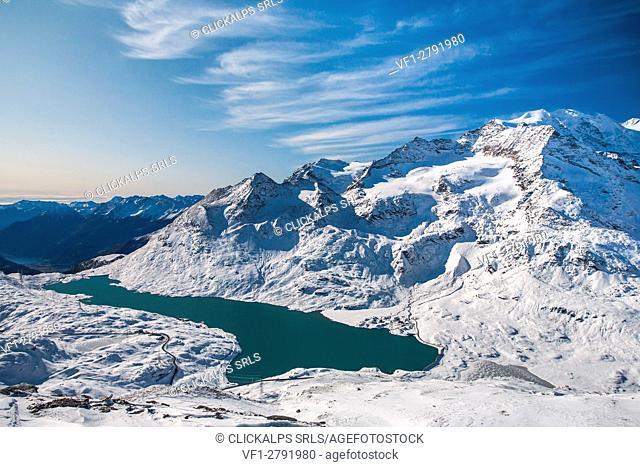 Switzerland, Bianco lake at Bernina pass, Engiadin