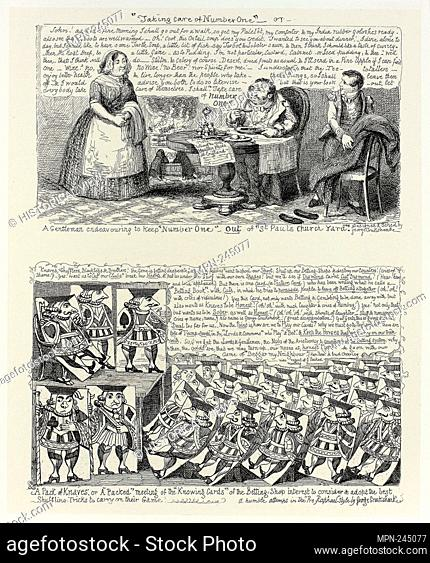"""""""""""""""""""""""Taking Care of Number One"""""""" or A Gentleman Endeavoring to Keep """"""""Number One"""""""" Out of """"""""St Pauls Church Yard"""""""" from George Cruikshank's Steel Etchings to..."""