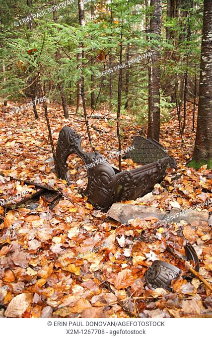 Old stove in forest from a logging camp of the Swift River Railroad (1906-1916) in Livermore, New Hampshire USA