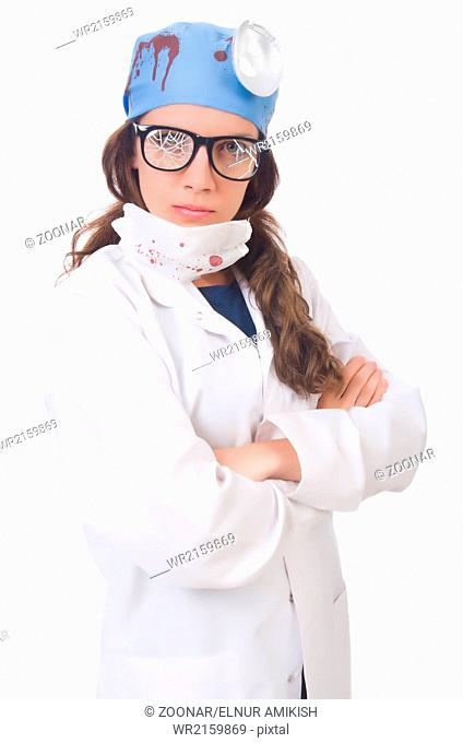 Female young doctor isolated on white