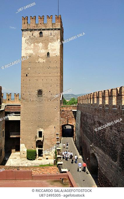 Italy, Veneto, Verona, Castelvecchio, Castle, Tower