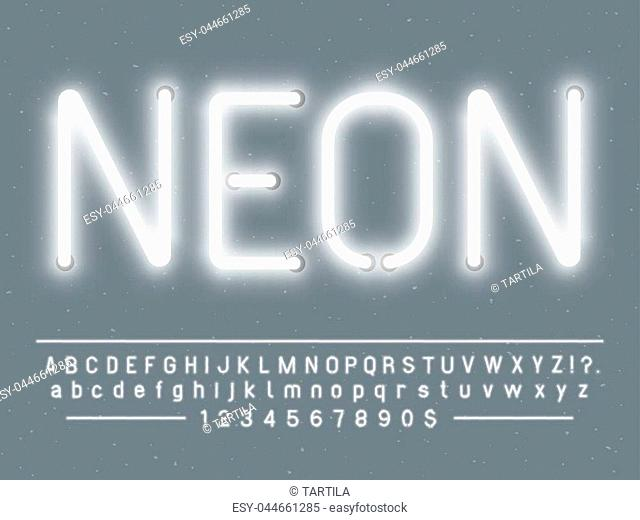 Bright glowing white neon sign characters. Vector font with simple glow realistic light effects alphabet text letters and numbers lamps template on gray...