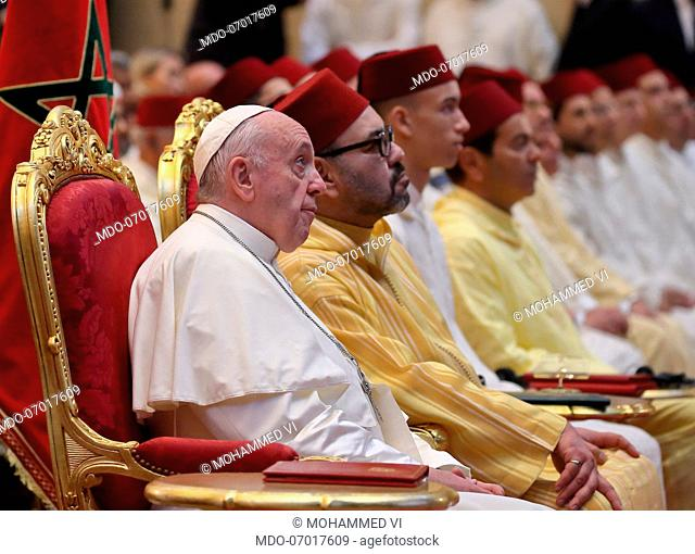Pope Francis and the King Mohammed VI during the papal visit to the Mohammed VI Institute for the formation of Imam, Morchidine and Morchidati