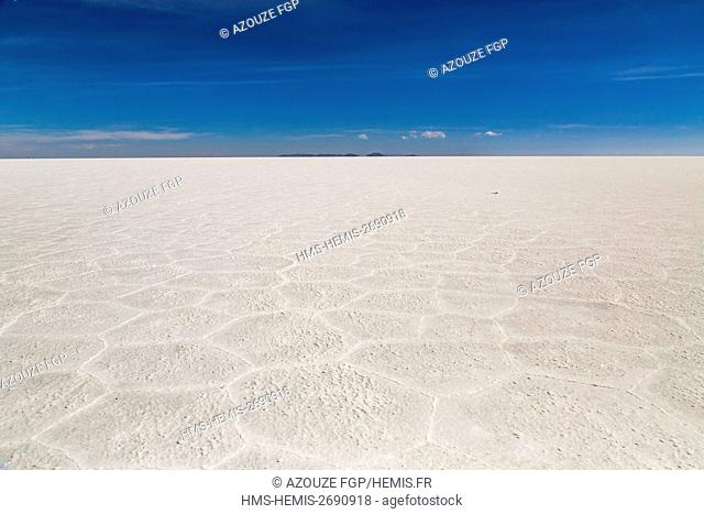 Bolivia, Daniel Campos Province, Potosi, Salar de Uyuni, Colchani, salt