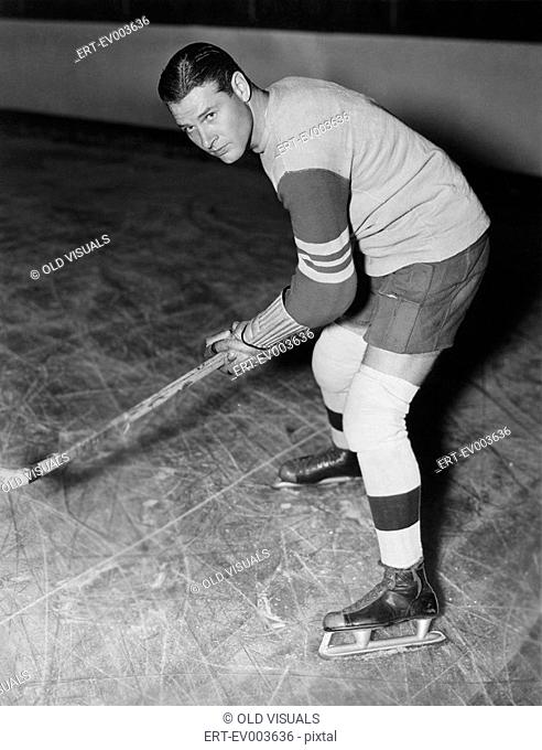 Portrait of hockey player All persons depicted are not longer living and no estate exists Supplier warranties that there will be no model release issues