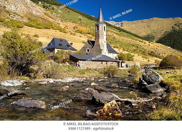 Montgarri Sanctuary and Noguera Pallaresa river  Aran Valley  Pyrenees mountain range  Lerida province  Catalonia, Spain, Europe