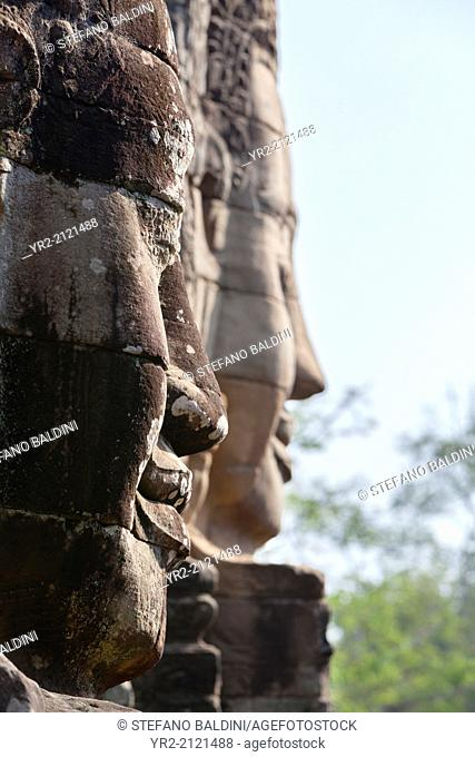 Faces of Avalokiteshvara, Bayon temple, Angkor Thom, Angkor, Siem Reap, Cambodia