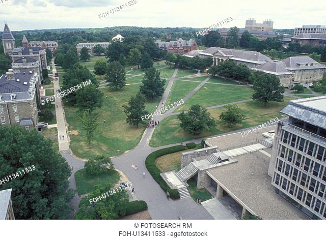 Cornell, university, Ithaca, NY, New York, Finger Lakes, Aerial view of the campus of Cornell University from the University Clock Tower