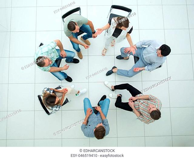top view. a team of successful young employees.business concept