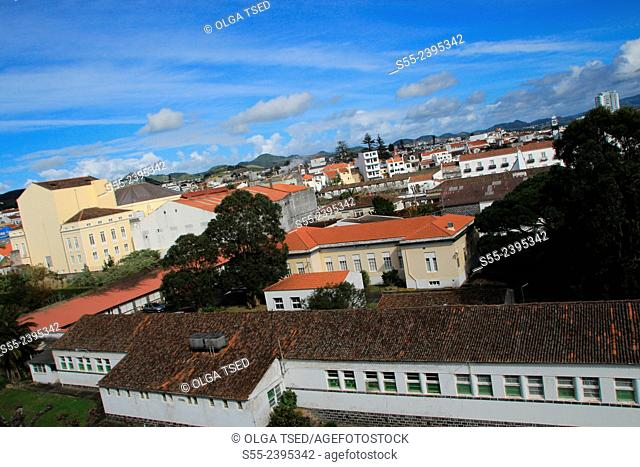 View over Ponta Delgada, the capital of Azores Islands. Sao Miguel island, Azores, Portugal
