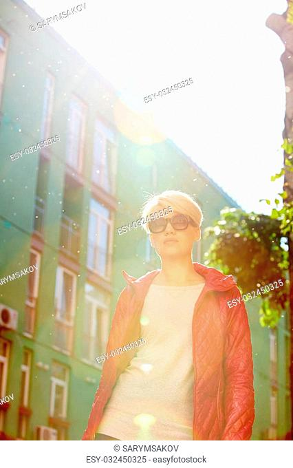 Close up fresh beauty portrait of cute amazing girl, natural glow make up, street evening sunlight, fashionable sunglasses,trendy outfit, street style