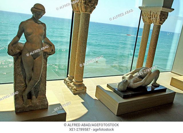Joan Rebull statues Palau Maricel, Nineteenth century artistic set, Sitges, Catalonia, Spain