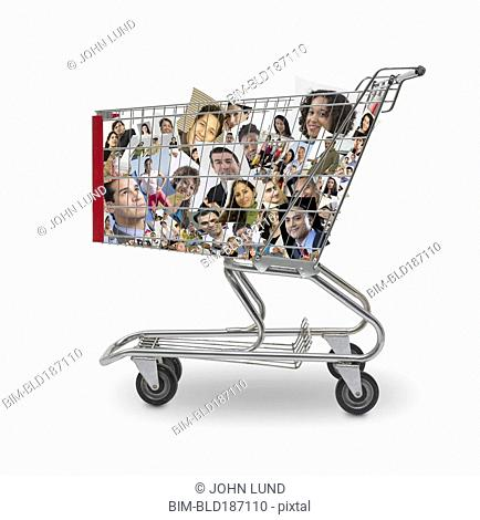 Collage of faces in shopping cart